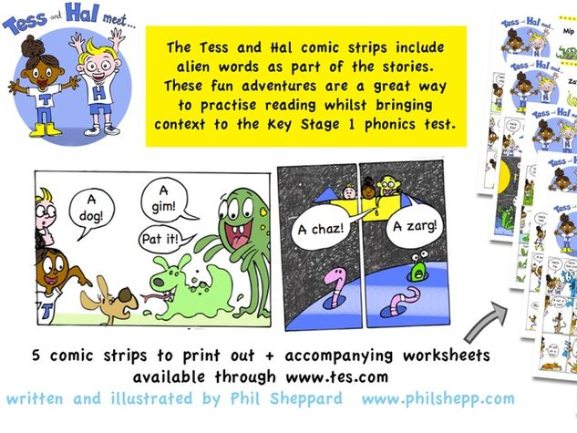 Tess and Hal comic strip stories and worksheets - alien phonics words used for real