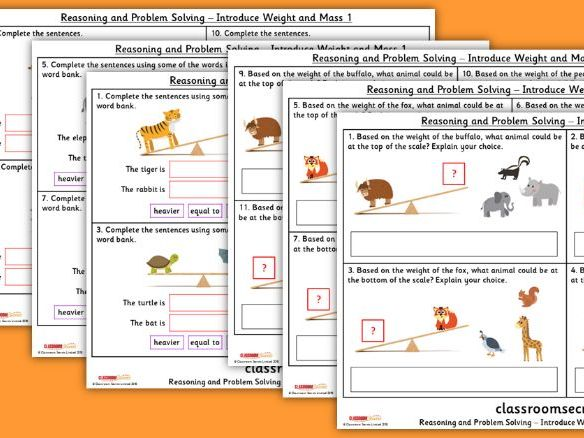 Year 1 Introduce Weight and Mass Spring Block 4 Reasoning and Problem Solving Pack