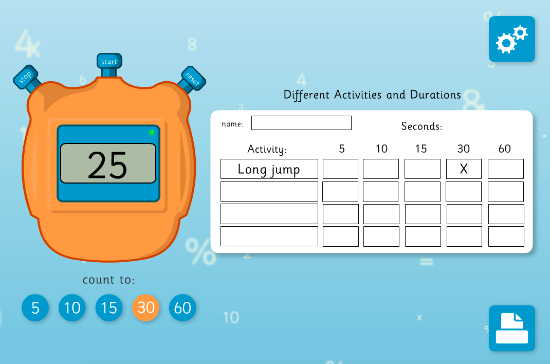 Recording Duration - Interactive Activity - KS2 Measurement
