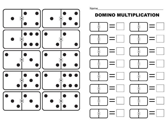 MULTIPLICATION using DOMINOES (Full set 0-0 to 12-12 with x symbol) and associated WORKSHEET