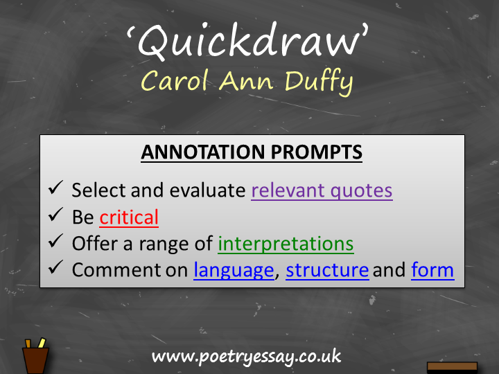 Carol Ann Duffy – 'Quickdraw' – Annotation / Planning Table / Questions / Booklet