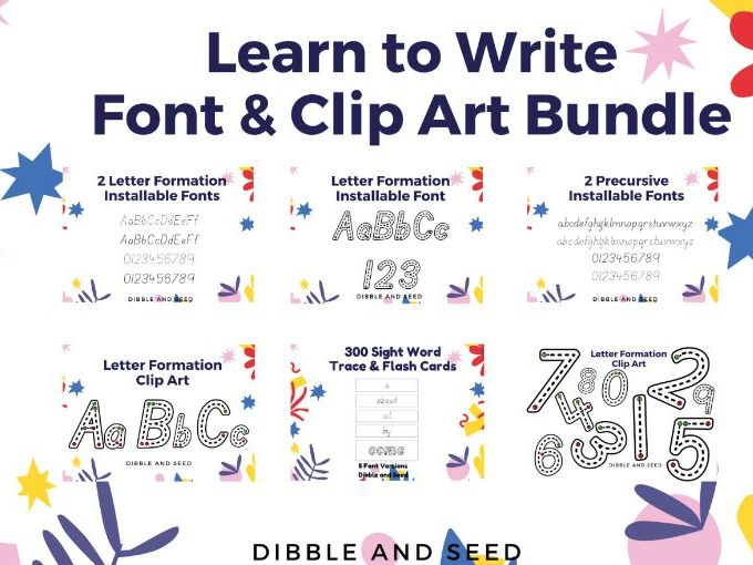 Letter Formation Font Bundle- Easy to Install- Includes 5 fonts and 2 font clip art sets