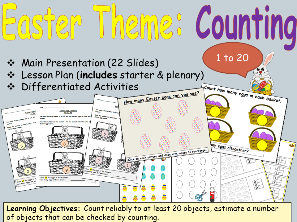 Easter Counting and Estimating, Presentation, Lesson Plan and Worksheet Activities