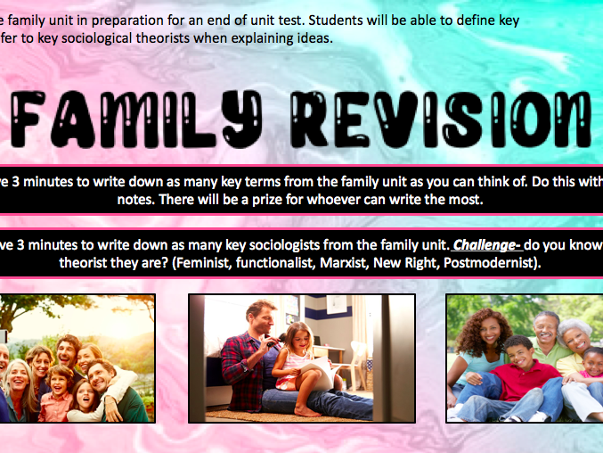 GCSE sociology [WJEC]- Family revision lesson.