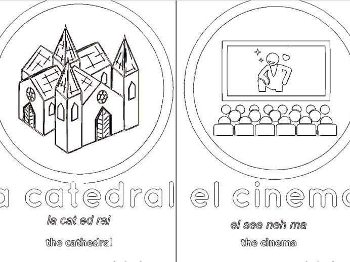 Spanish mini flash cards on the topic of mi cuidad /viajar nouns , in black and white