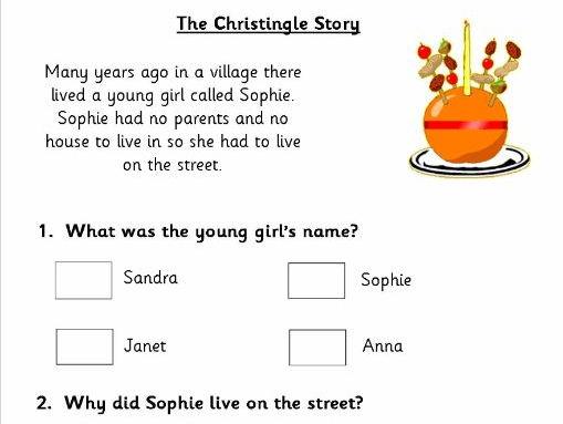 KS1 Christmas Comprehension Papers based on Christingle, Nativity and Saint Nicholas.