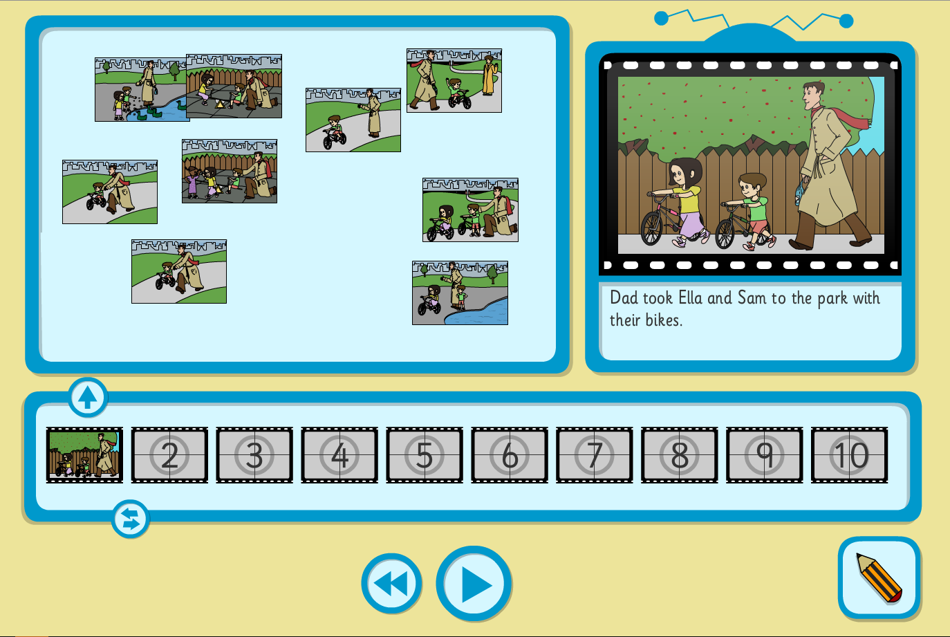 Sam and Ella at the Park Sequence and Retell Interactive Activity - KS1 Literacy