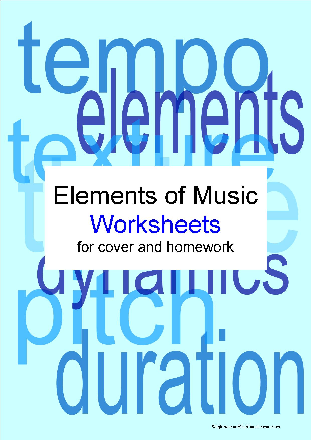 The Elements of Music - 1 factsheet and 2 worksheets by ...