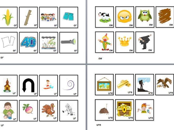 Year 1-Phase 3 vowel digraph picture cards- snap/ memory game