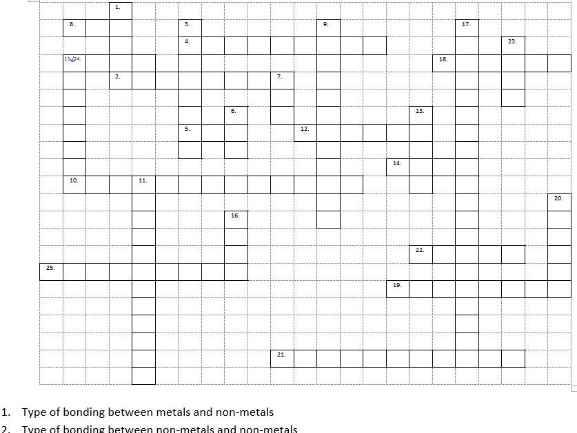 Ionic bonding, covalent bonding and types of substance crossword