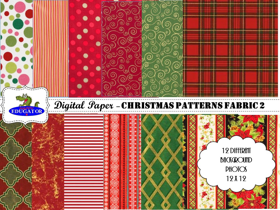 Christmas Patterns 2 Fabric Photo Backgrounds - Digital Paper - Assorted