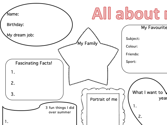 All about me - tutor activity