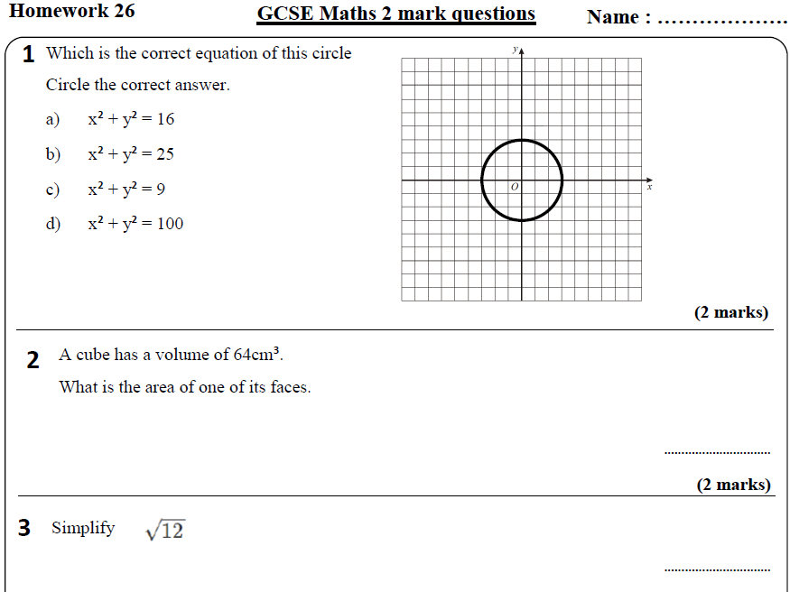 10 GCSE Maths HIGHER Homework Revision (9-1) Part 3 -Includes all ANSWERS