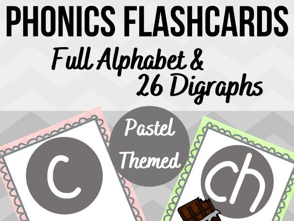 Phonics Flashcards - Full Alphabet & 26 Digraphs