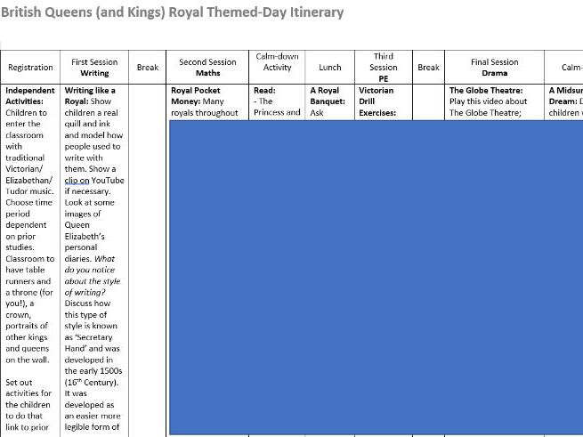 KS1 Kings and Queens Royal Theme Day Timetable