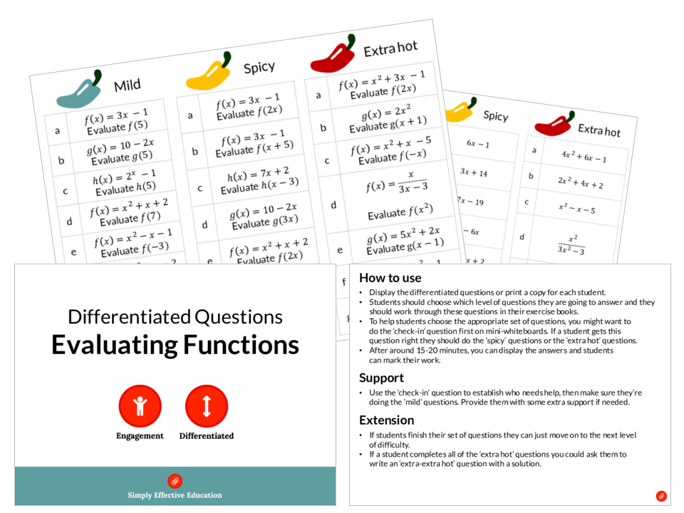 Evaluating Functions (Differentiated Questions)
