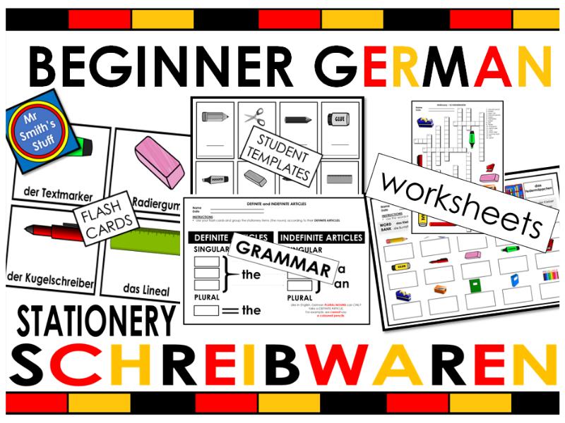 GERMAN Stationery - VOCABULARY & GRAMMAR