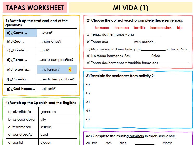 SPANISH TAPAS WORKSHEET WITH ANSWERS - Mi vida [1]