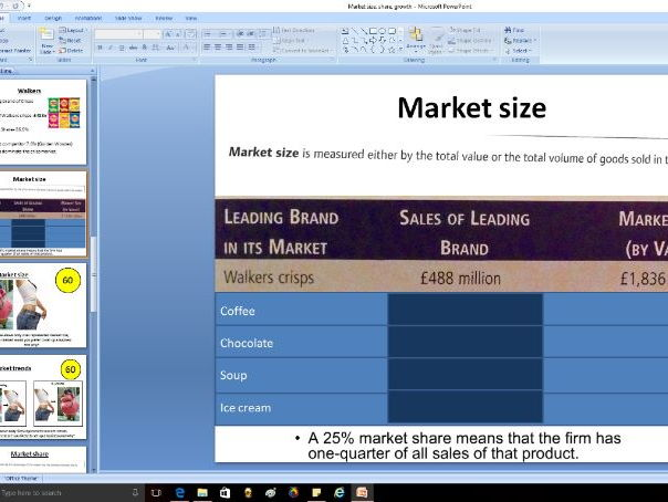 Market size, share and growth - Edexcel A Level Business Theme 1