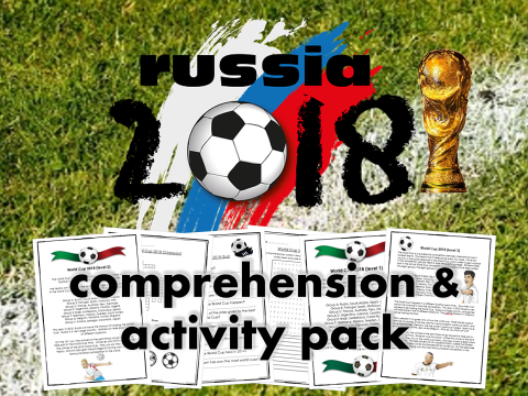 World Cup 2018 Russia Activity Pack – Reading Comprehension, Quiz, Crossword, Wordsearch, Maths FIFA