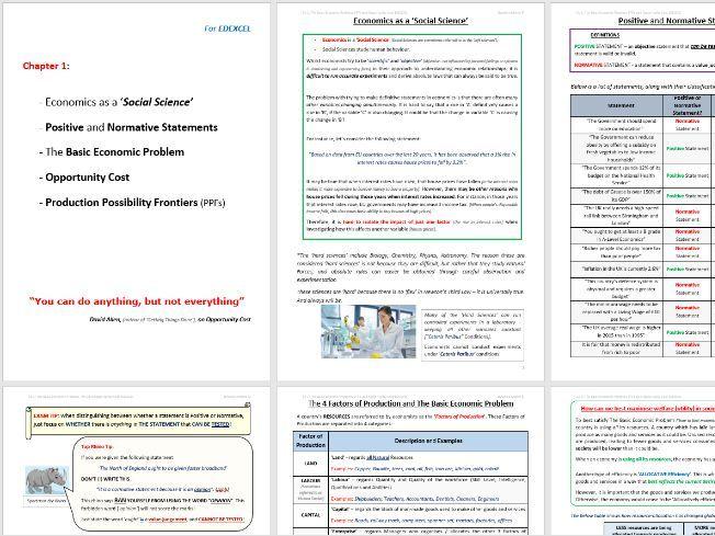 EDEXCEL Rev. Notes: PPFs, Opportunity Cost, Basic Economic Problem, Positive / Normative Statements
