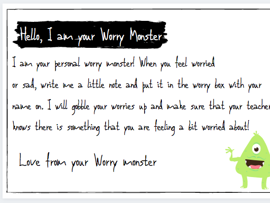 Classroom Worry Monster Resources
