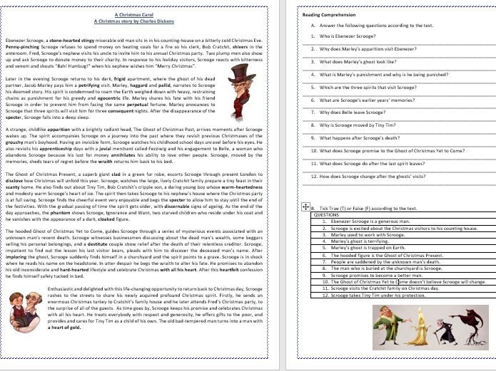 A Christmas Carol  by Charles Dickens - Reading Comprehension Worksheet/ Vocabulary Worksheet