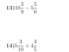 Adding and subtracting fractions and mixed numbers worksheet (with solutions)