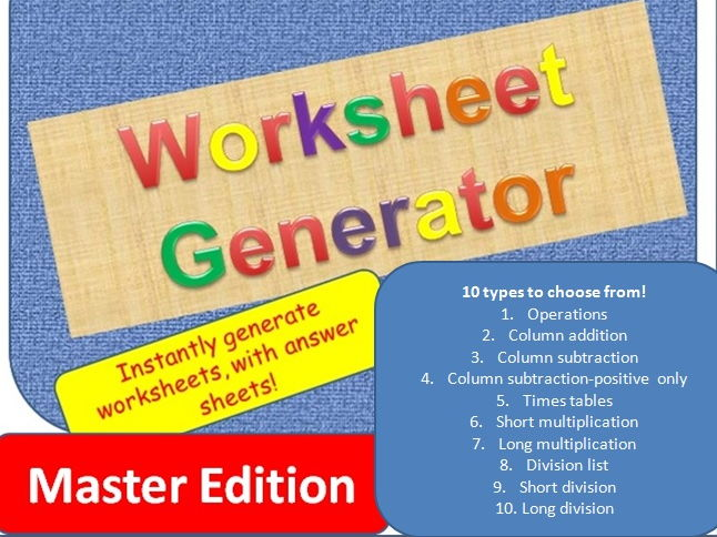 Worksheet generator for primary Maths - Master edition!