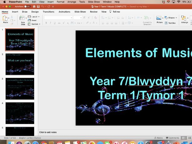 Elements of Music SOW