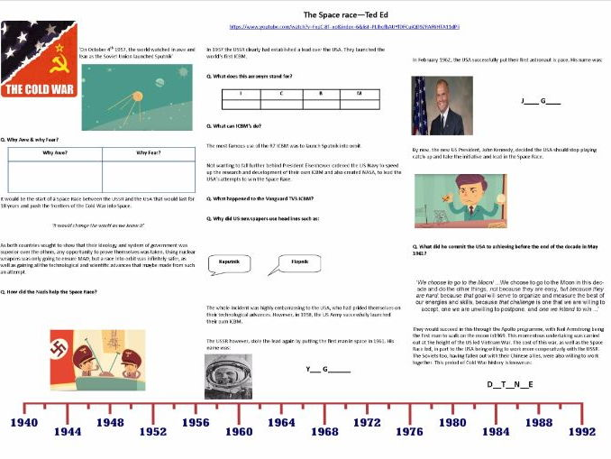 9-1 GCSE History - Cold War - The Space Race - Supporting Worksheet for Ted Ed Video