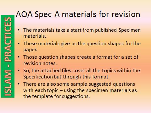 AQA GCSE Religious Studies Spec A (9-1) - Islam Practices
