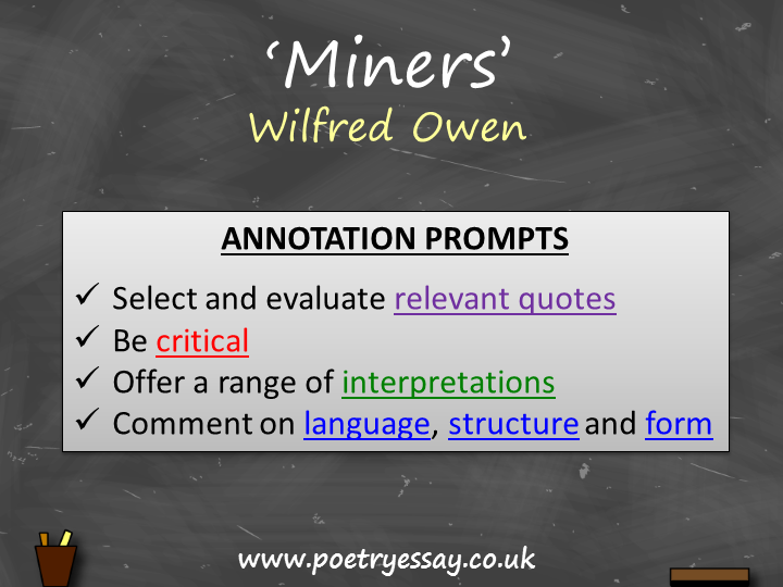Wilfred Owen – 'Miners' – Annotation / Planning Table / Questions / Booklet