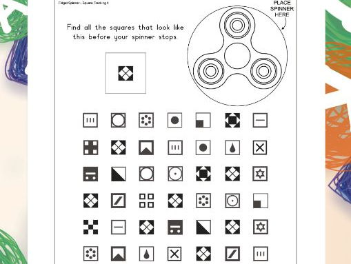Fidget Spinner Square Tracking by VisualLearningForLife – Visual Tracking Worksheets