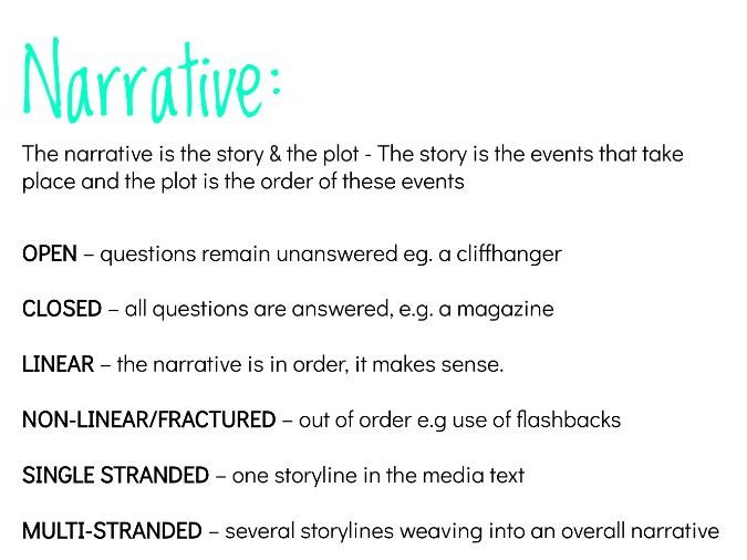 Introduction to Narrative; Definitions, Terminology & theorists PP- teachers notes & student handout