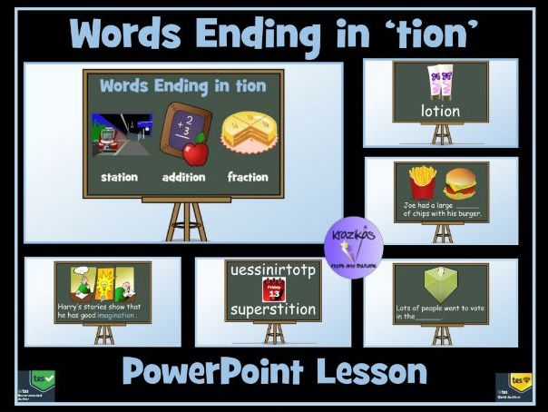 tion words: words ending in 'tion': 100-Slide PowerPoint Lesson