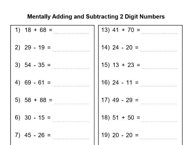 Mentally adding and Subtracting 2 Digit Numbers