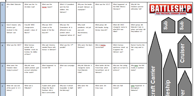 Battleships revision game - any subject