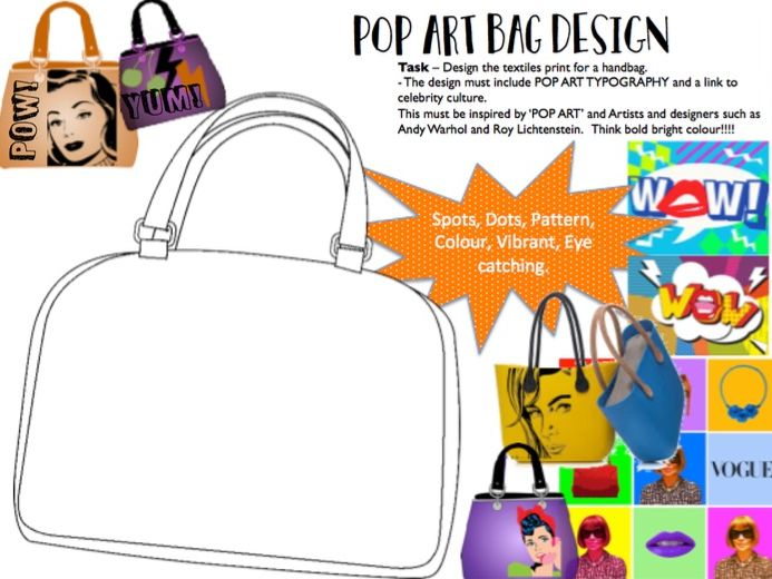 POP ART Handbag Design Sheet Cover / Homework Resource
