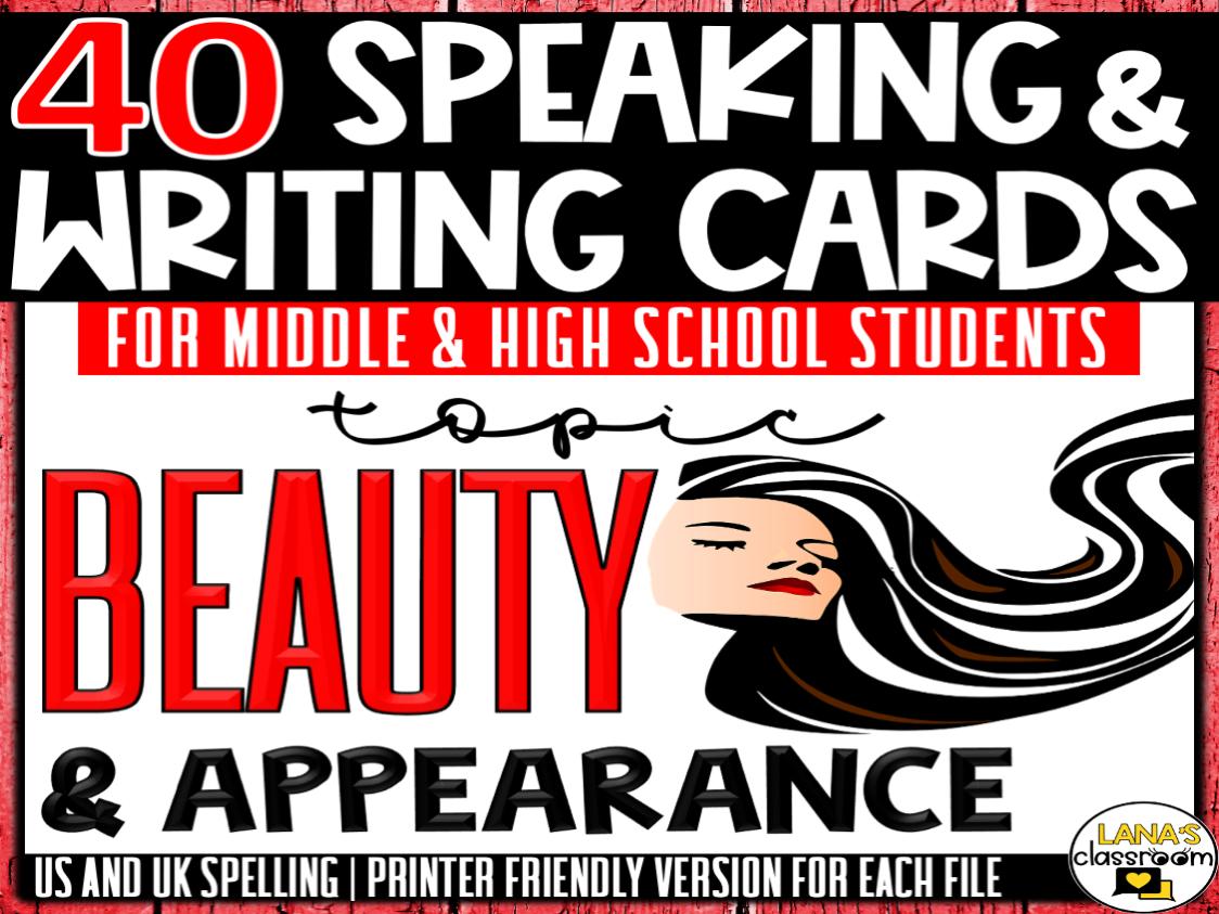 Beauty | ESL/ELL/ELA Speaking and Writing Activities | For Teens | BUNDLE
