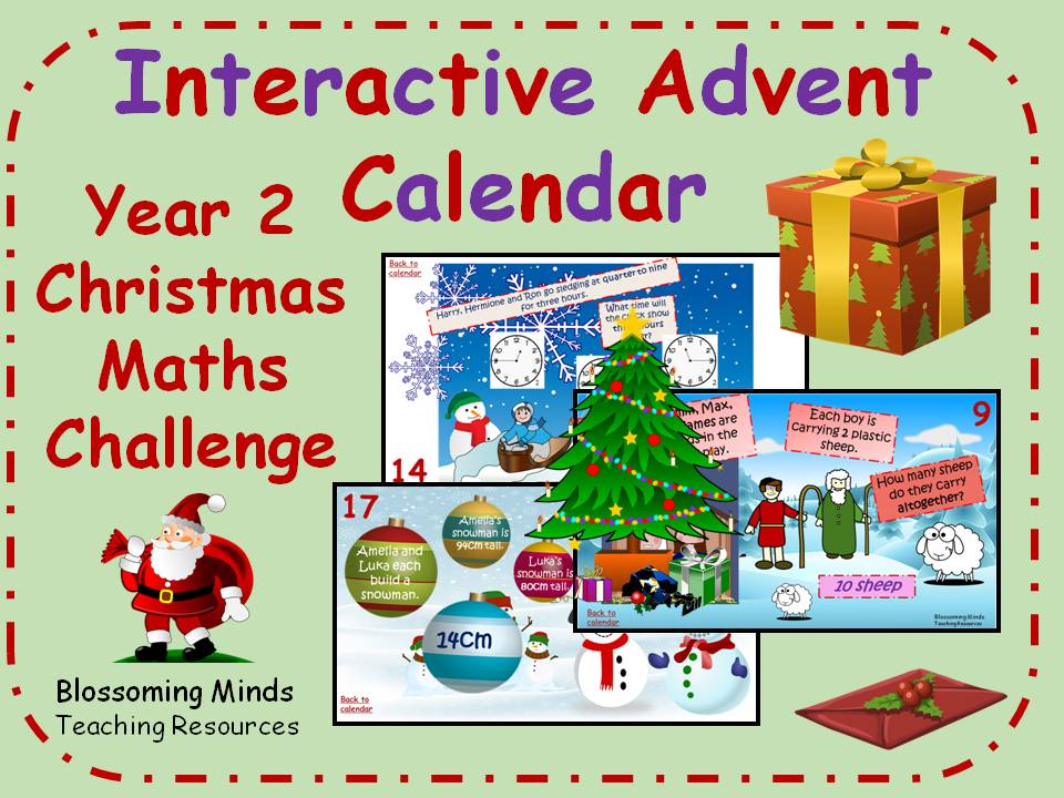 Interactive Advent Calendar - Year 2 Christmas Maths Challenges