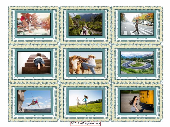 Prepositions of Movement Cards With Photos 4 Pages = 36 Cards