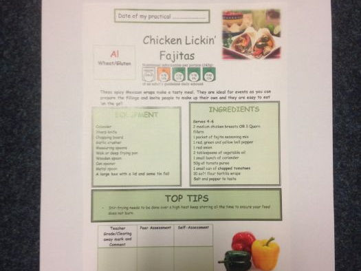 Chicken Lickin' Fajitas FULL Recipe Sheet