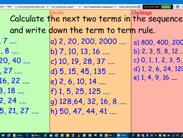 To generate a sequence from a term to term rule
