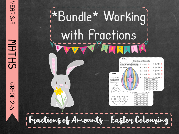 *Bundle* Working With Fractions - Fractions of Amounts Easter Colouring *Bundle*