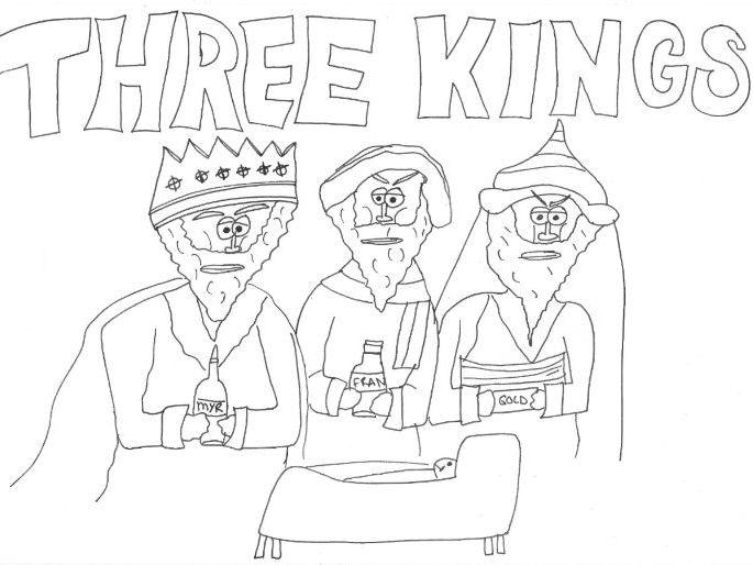 Three Kings: Christmas Nativity Colouring Page