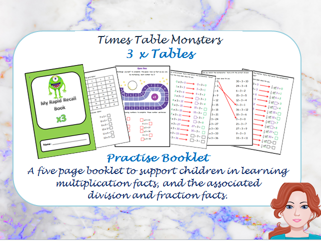 3 x Tables Practise Booklet