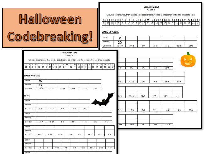 Halloween Maths Codebreaking Activities