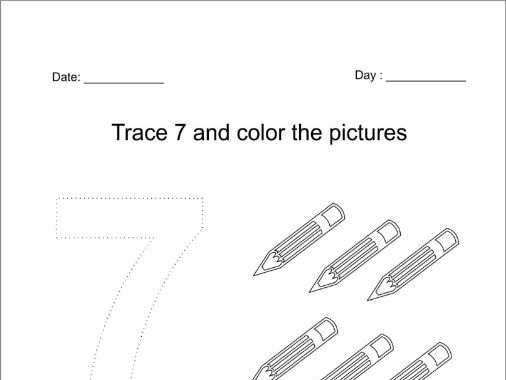 Trace and color the number 7