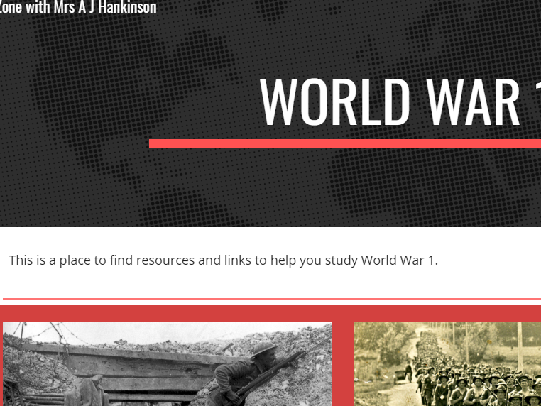 World War 1 Project Website suited to KS3